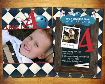 Bowling Birthday Card PSD Template - 5x7 flat card