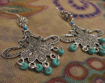 Boho\ tribal silver chandelier earrings white or turquoise, rustic jewelry.