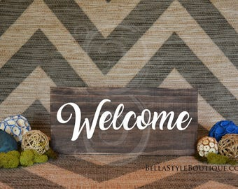 "Welcome 12"" Wood Sign"