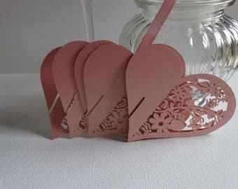 Set of 10 placing cards pink heart lace