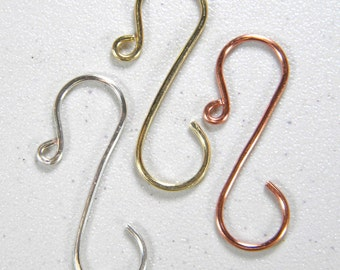 Mid-size (1 1/2 inch) Ornament Hooks in Gold, Silver, Copper, or Rose Gold Set of 12