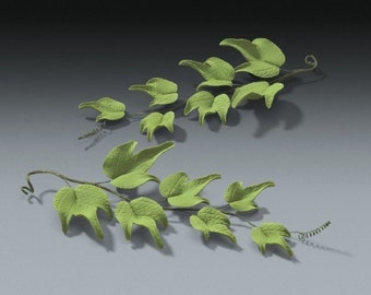 6 Ivy Green Leaves in Gum Paste for Weddings and Cake Decorating