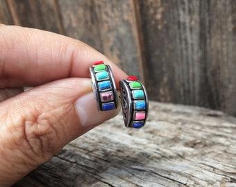 Vintage Small Earrings Turquoise Sterling Silver Multistone Jewelry Rainbow Stud Earrings