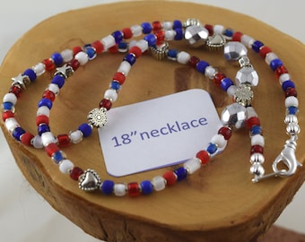 18 inch Americana red white and blue Czech crystal and seed bead choker necklace