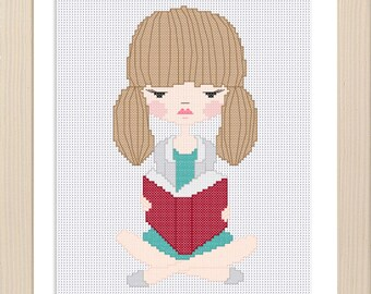 Girl Reading Cross Stitch Pattern / Digital file / Instant download