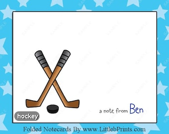 Hockey Note Cards Set of 10 personalized flat or folded cards