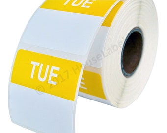 2 Rolls of Tuesday Day of the Week Labels (500 labels/roll, 40mmx40mm) BPA Free!