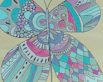 Butterfly Jennifer Mercede painting 6x6in 'Lavey'