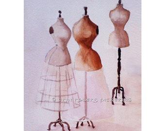 3 Vintage Dress Forms 8x10 Art Print