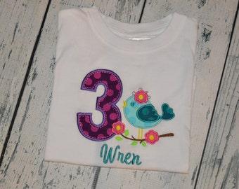 PERSONALIZED Bird Birthday Shirt  Monogrammed 1, 2, 3, 4, 5, 6 birthday
