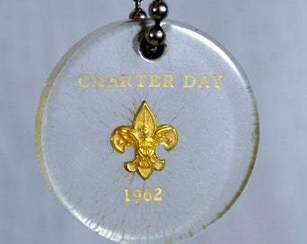 Vintage Lucite BSA Keychain Boy Scouts 1962 Charter Day Key Chain