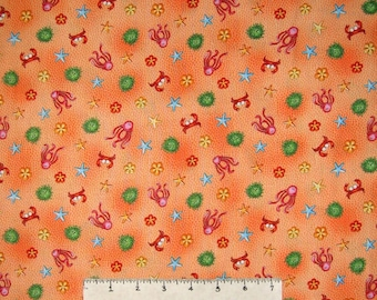 Nautical Fabric - A Is For Animal Crab Starfish Toss Orange - Red Rooster YARD