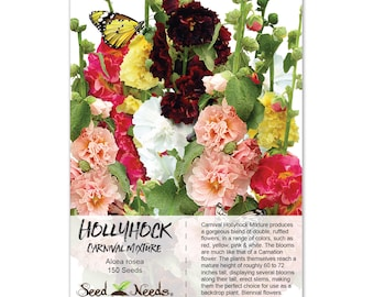Hollyhock Seeds, Carnival Mixture (Alcea rosea) Open Pollinated Seeds by Seed Needs