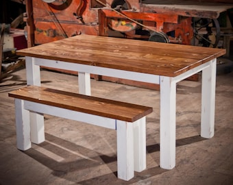 Farmhouse Table | Solid Wood Farmhouse Dining Table | Farmhouse Kitchen Table | Built to Order | Rustic Harvest Table