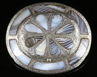 Antique Victorian Scottish Agate Locket Brooch Circa 1860