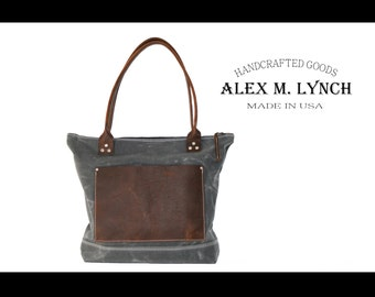 """Waxed canvas tote - heavy weight canvas bag and genuine leather  """" Zippered Old Country Bag """" - water resistant"""