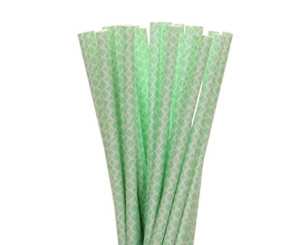 Paper Straws, Mint Green Quatrefoil Paper Straws, 1st Birthday Party Decor, Mint To Be Bridal Shower Paper Straw, Garden Tea Party Supplies