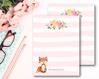 Fox Stationery Cards/ Kids Personalized Stationery/ Set of 12 Flat Cards