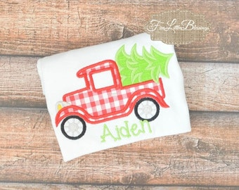 Retro - Christmas - Truck - Vintage Christmas - holiday - Christmas tree - personalize - santa -