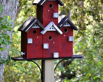 Custom Birdhouse, SPECIAL ORDER, Functional Condo Bird Houses For Post Mount With Four Chambers, Birdhouses Built By Michele McKee-Orsini