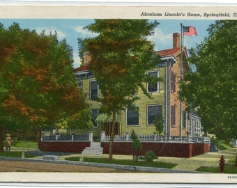 President Abraham Lincoln's Home Springfield Illinois postcard