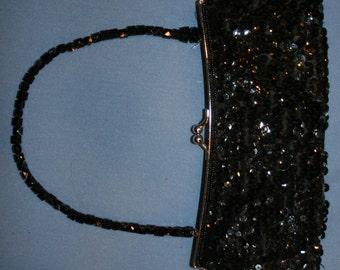 Vtg Vintage Classic Black La Regale Purse Satchel Evening Bag Handbag Sequins Sequined Beaded Small