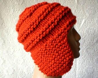 Ear flap hat, trapper cap, pumpkin orange hat, beanie hat, orange hat, toque, winter hat, men womens knit hat, ski toboggan hat, hiking hat