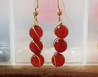 Carnelion healing stone earrings