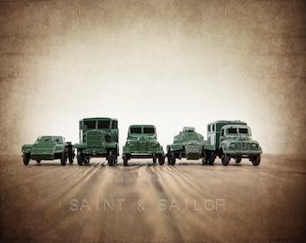 Vintage Matchbox Army Truck lineup, Photo Print, Boys Room decor, Boys Nursery Prints, Army Room Decor