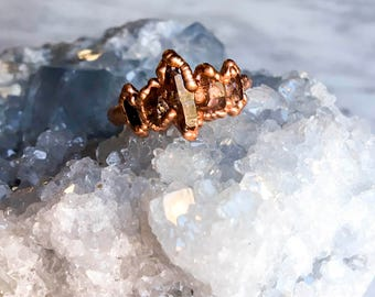 Smoky Quartz and Copper Ring Size 7 1/2