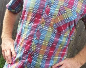 Ethnic Men's Handmade Indian Cotton Short Sleeve Pocket Shirt - Plaid With Snap Closures - Size Medium - Kabir H829