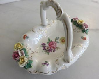 Vintage Porcelain Rose Basket  7.5 x 5 x 6