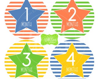 Stars and Stripes Baby Monthly Stickers - Baby Bodysuit Stickers - Monthly Baby Stickers -  Boy Baby Stickers - Milestone Stickers - 044