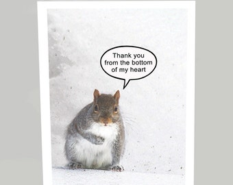Thank you card / Thank you from the bottom of my heart - Squirrel thank you greeting card (Blank inside)