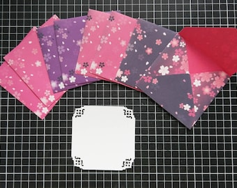 Small Floral Envelopes with Cards, Set of 8 - Beautiful Handmade Envelopes set with cards - Origami Paper
