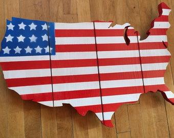 American flag wall portrait, wooden wall portrait, patriotic America decoration
