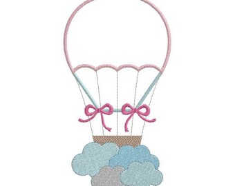 hot air balloon and clouds machine embroidery design