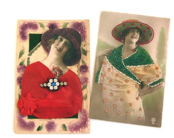 Lot of antique postcards, Romantic greeting cards, Embossed cards, Embroidered card, Valentines Day, Scrabooking, Collage, Collecting cards