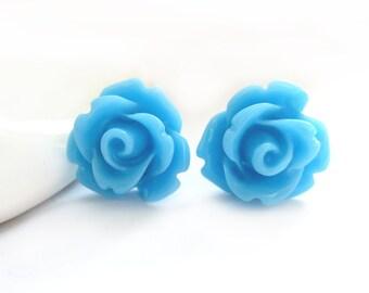 SALE - Sky Blue Rose Stud Earrings
