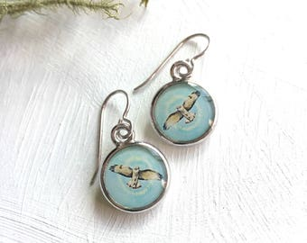 Red Tailed Hawk Earrings, Silver Handmade Art Earrings made from Fine Art Prints of Original Paintings, Bird Jewelry