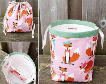 Sock Knitting Bag in Pretty Foxes print, two at a time knitting, Knitting Tote, Drawstring Bag, Project Bag - Sock sack