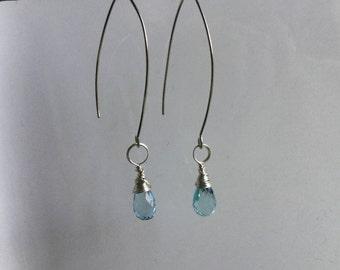 Blue topaz wire wrapped dangle earrings