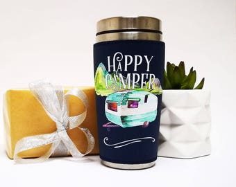 happy camper travel gift, tumbler, travel mug, coffee, tea, mug, birthday, gift, for her, for him, for traveler, for brother, with lid