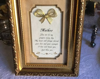 Beautifully Framed Mother Poem in Glass and Gold Wall Hanging/Tabletop Picture