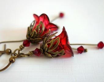 Ruby Earrings - Red Flower Earrings - Ruby Swarovski Crystal Dangle Drop Earrings - July Birthday Gift - July Birthstone - Raspberry Red.