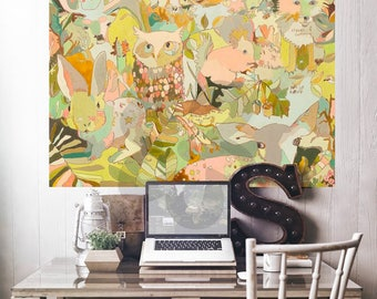 Woodland Forest Animals Wall Mural by Jennifer Mercede 54x72in 'Woodland Sweeties'