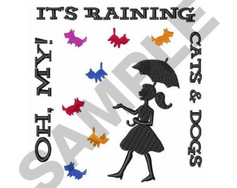 Large Raining Cats and Dogs - Machine Embroidery Design