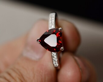 Natural Garnet Ring Sterling Silver Ring Gemstone Ring January Birthstone Ring