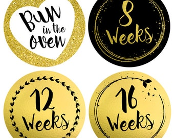 Pregnancy Belly Stickers - Baby Bump Stickers - Gold Glitter Sparkle - Pregnancy Milestone - Pregnant Stickers - Bun in the oven - 40 weeks