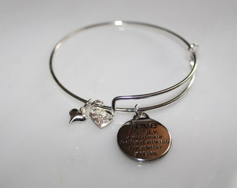 Love Adjustable Bracelet -Charm Bangle - Love Charm - Love Jewelry - Love Pendant - Friendship Bangle - Anniversay Gift